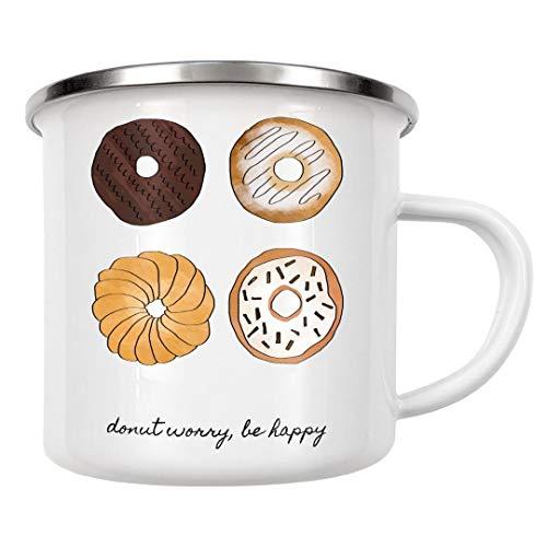 artboxONE Emaille Tasse Donut Sorge, sei glücklich von Orara Studio - Emaille Becher Typografie