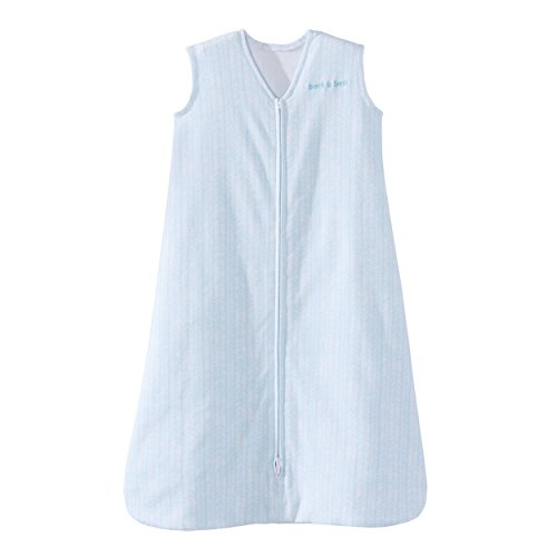Halo Sleepsack Cotton Wearable Blanket, Aqua Feather, Large