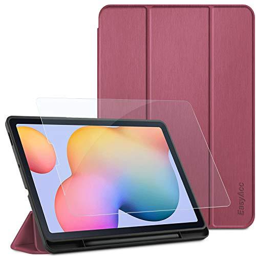 EasyAcc Custodia Compatibile con Samsung Galaxy Tab S6 Lite 10.4 con Vetro Temperato-Ultra Sottile con Cover Leggero Supporto in Pelle PU Case Compatibile con Tablet Samsung Tab S6 Lite 2020,Prugna