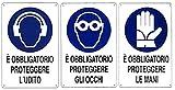 Set 3 Cartelli Protezione Mani,vista,udito in Alluminio. 1 è obbligatorio proteggere le mani, 1 è obbligatorio proteggere gli occhi, 1 è obbligatorio proteggere l'udito