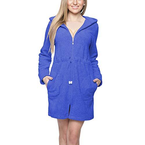 Aquarti Bata Corta con Capucha y Cremallera para Mujer, Azul, XL
