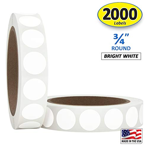 """3/4"""" Bright White Round Color Coding Circle Dot Labels on a Roll, Matte Finish, 2000 Stickers, 1000 Stickers per Roll.75 inch Diameter."""