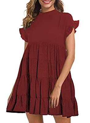 MIHOLL Women's Casual Summer Ruffle Babydoll Loose Mini Dress (Small, Burgundy)