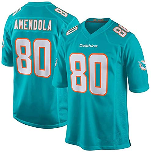 XIKONG Herren Trikot Dolphins Miami Amendola#80 Atmungsaktives Sweatshirt Sport Kurzarm Jersey Erwachsene, grün, XXX-Large