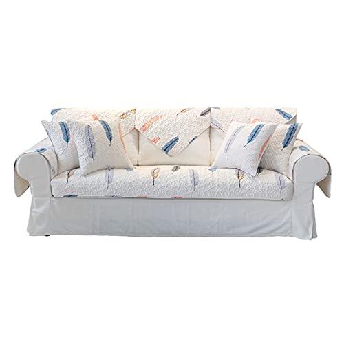 ZSDCG Funda de sofá para muebles, diseño de plumas de color de algodón, fundas de sofá seccionales, toallas de sofá, fundas reclinables ideales para sala de estar, dormitorio (blanco)