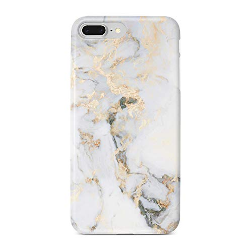 "Obbii Case for iPhone 7 Plus/ 8 Plus/6 Plus/6S Plus White Golden Marble Shockproof Slim TPU Flexible Soft Silicone Protective Durable Cover Case Compatible with iPhone 7 Plus/8 Plus/6/6S Plus(5.5"")"