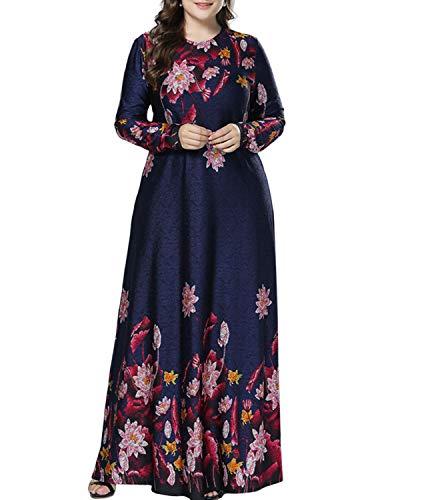 Qianliniuinc Donne Oversized Elegante Abaya Vestito - Signora Manica Lunga Maglia Floreale Musulmano Maxi Vestito Casuale Cocktail Arabo Gown 3XL