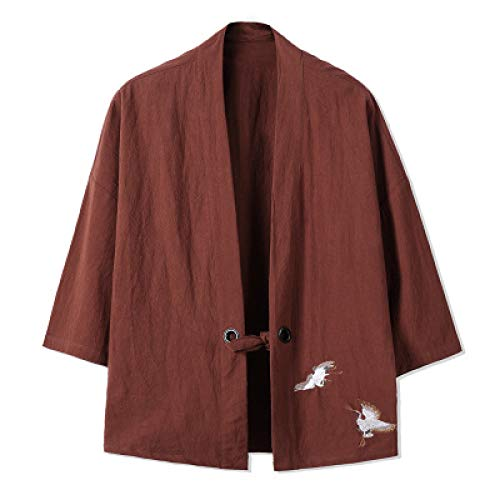 Haori Chaqueta, kimono japonés para hombre, cárdigan Streetwear Yukata camisa de kimono Haori para hombre, ropa tradicional japonesa Samurai – Cierre de cordón, I-XXXL