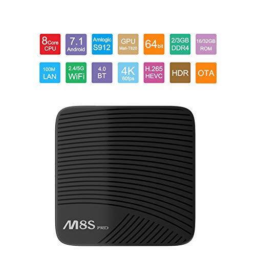 HCDMRE M8s PRO W Android TV Box 7,1 con Telecomando 2GB RAM 16GB Rom 4K Amlogic S912 CPU, UHD VP9 HEVC decodifica supportato Set Top Box