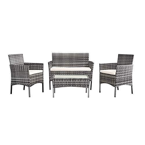 WENYAO Meubles de Jardin en rotin 4 pièces Ensemble Table canapé Chaise Patio extérieur Jardin d'hiver intérieur Mixte Gris