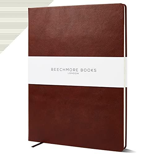 Beechmore Books - Cuaderno de papel personalizado con manuscrito, tamaño A4, 10 personales, de piel vegana, 120 g/m², papel crema, 21 x 29,7 cm (marrón castaño)