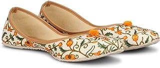 Mojari Orange Printed Jutti Classic Style Ethnic/Traditional -Jutti/Mojari for Women's
