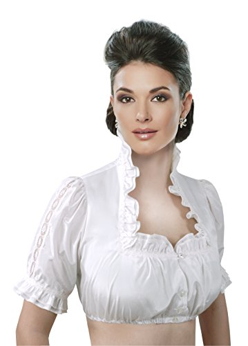 Moschen-Bayern Damen Dirndlbluse Spitze Dirndl Rüschen Trachtenbluse festlich Hochzeit Schneewittchenkragen Creme Elfenbein
