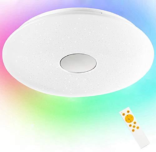 LED Deckenleuchte dimmbar RGB, 24W Sternenhimmel Deckenlampe Farbwechsel Helligkeitsstufen einstellbar mit Fernbedienung für Kinderzimmer Schlafzimmer Wohnzimmer Party, Rund IP44 3000-6500K
