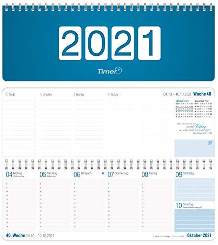 Wochen-Tischkalender 2021 im Quer-Format | 1 Woche 2 Seiten | Wochenkalender in Königsblau/Weiß, 29,7 x 10,5 cm | Schreibtisch-Kalender mit Sprüchen | nachhaltig & klimaneutral