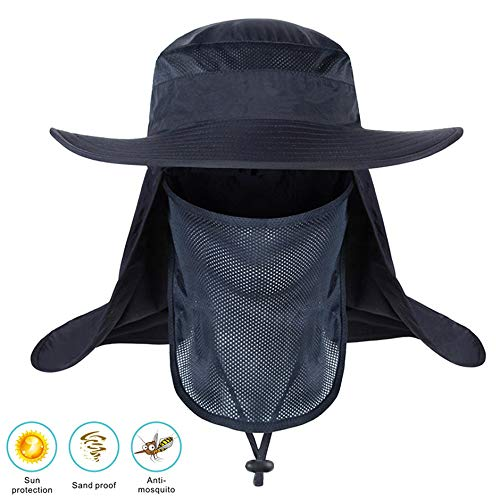 Idefair Sombrero de pesca Hombres al aire libre Mujeres UPF 50+ Protección Sombrero para el sol Cara transpirable Cuello Solapa Cubierta para senderismo Viajes Camping