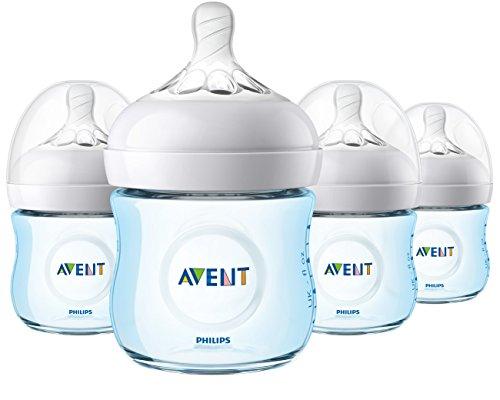 Philips Avent Natural Baby Bottle, Blue, 4oz, 4pk, SCF010/49