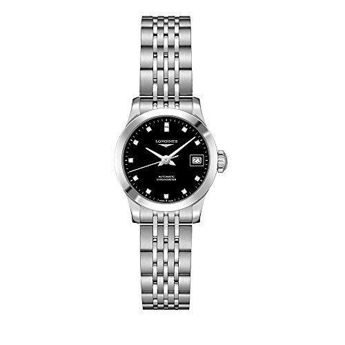 Longines Record Automatic Chronometer Diamond Black Dial Ladies Watch L2.320.4.57.6