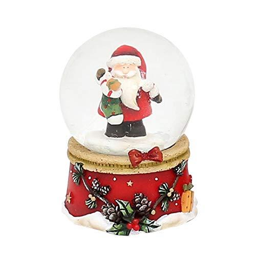 Dekohelden24 Mini-Schneekugel mit Weihnachtsmann, roter Sockel mit Zapfengirlande, Maße L/B/H: 4,8 x 4,8 x 6,5 cm Kugel Ø 4,5 cm.