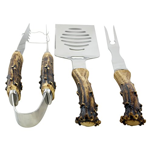 Pine Ridge Antler Handle 3 Piece Grilling Set for Barbecue Outdoors Style Cooking - BBQ Starter Pack Tools - Stainless Steel Metal Tongs, Fork, Spatula Utensils