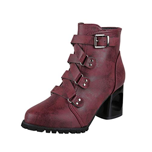 Dames Martin laarzen dik met damesschoenen laarzen met ronde kop riemgesp niet holle mode geschikt voor shoppingtrips in winkelcentra