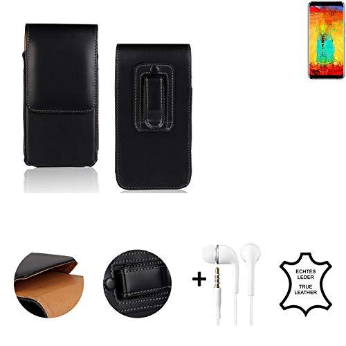 K-S-Trade® Leder Gürtel Tasche + Kopfhörer Für Leagoo S8 Pro Seitentasche Belt Pouch Handy-Hülle Gürteltasche Schutz-Hülle Etui Schwarz 1x