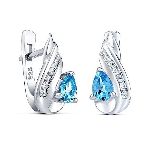Orecchini d'argento CORNELIA con naturale topazio azzurro