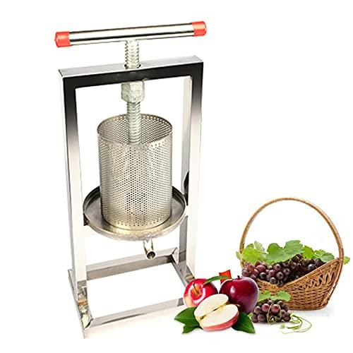 JAY-LONG Exprimidor Manual de Miel, exprimidor de Vino de Frutas de Acero Inoxidable, Separador de orujo de caña de azúcar, exprimidor de Uvas casero para Miel/Frutas/Verduras