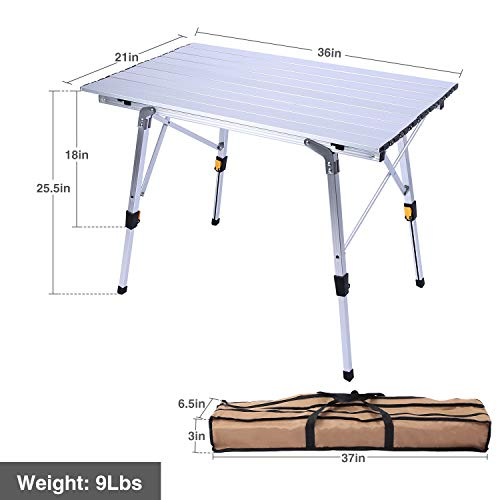 REDCAMP Aluminum Roll Up Table for Camping, Lightweight Folding Camping Table with Adjustable Height Legs, Portable with Carry Bag, Silver Top