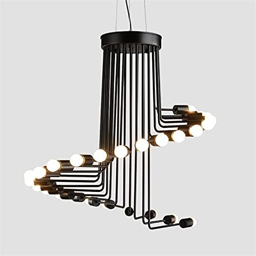 ZHLFDC Lámpara colgante de loft industrial E27, cafetería creativa de 26 luces, restaurante, bar, escalera, sala de estar, iluminación espiral, duradero y no oxidado