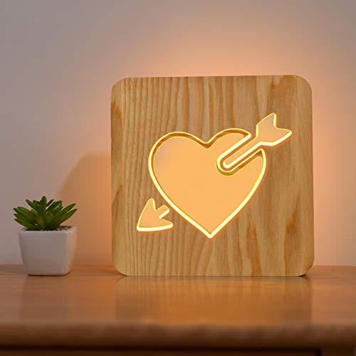 Amor Corazón Madera Lámpara de Noche de Regalo Luz de Noche LED Personalizada Dormitorio Decoración Mejor Día de San Valentín, Boda Cumpleaños Regalo para novia