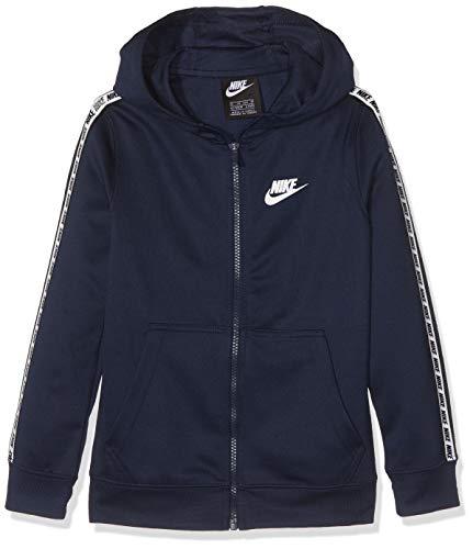 Nike Jungen B NSW Repeat FZ Poly Hood Sweatshirt, Obsidian/White, L