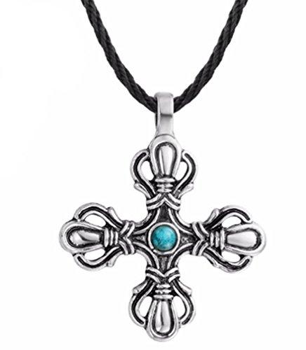 AccessCube Wolf Celtic Knot Pendant Necklace Animal Power Antique Silver Gothic Viking Slavic Amulet Necklace (Cross Flower/Silver)