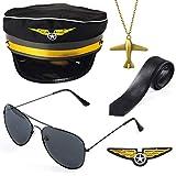 Beelittle Airline Pilot Captain Costume Kit Pilot Dress up Accessory Set with Aviator Sunglasses (Black)