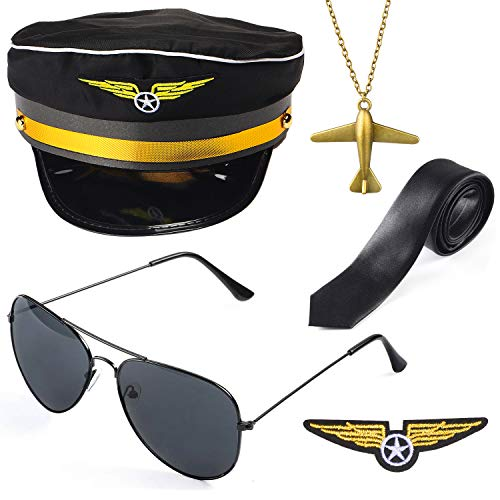 Beelittle Airline Pilot Captain Kostüm-Set Pilot Dress up Zubehör-Set mit Aviator-Sonnenbrille (B)