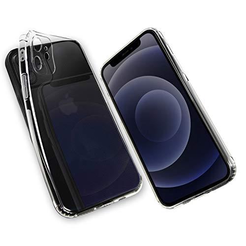 Hetcher Tech Premium iPhone 12 Hülle Transparent Silikon mit Staubschutz - Schutzhülle kompatibel mit Apple iPhone 12