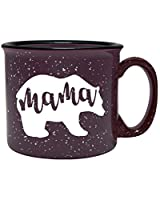 Cute Girly Coffee Mug for Mom, Women - Mama Bear - Plum - Unique Fun Gifts for Her, Wife, Mom, Under $20 - Handmade Coffee Cups & Mugs with Quotes, 14 oz