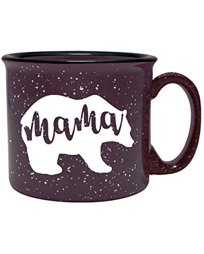 Cute Girly Ceramic Coffee Mug for Mom, Women - Mama Bear - Plum - Unique Fun Gifts for Her, Wife, Mom, Under $20 - Handmade Coffee Cups & Mugs with Quotes, 14 oz