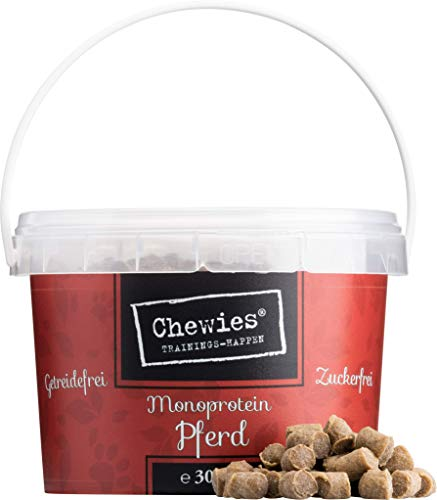 Chewies Trainingshappen Pferd - Monoprotein Snack für Hunde - 300 g - getreidefrei & zuckerfrei -  Softe Leckerlies fürs Hundetraining - hypoallergen