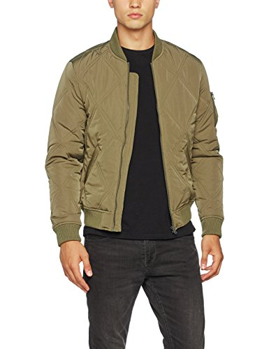Urban Classics Herren Big Diamond Quilt Jacket Bomber Jacke, Grün (Olive 176), Medium