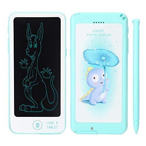 Qioniky Tableta de Escritura LCD, Tablero electrónico de garabatos LCD, Forma de teléfono con bolígrafo, Estudio de Dibujo para niños pequeños(Blue)