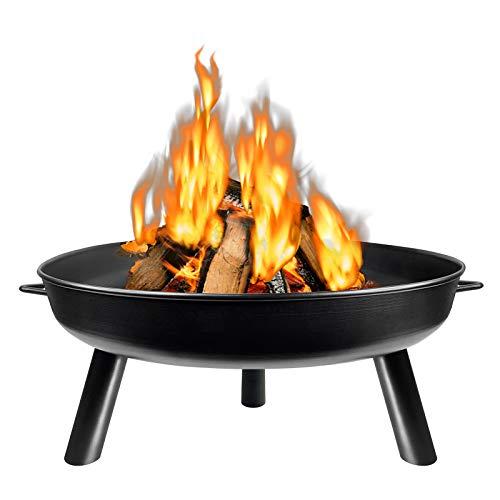 HENGMEI Φ80cm Feuerschale Feuerstelle Feuerkorb Fire Pit Metallschale mit 3 Beinen für Garten, Gemütliche Feuer (Φ80cm)