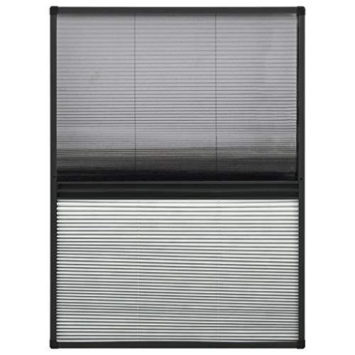 vidaXL Insektenschutz Plissee für Fenster Fliegengitter Dachfenster Mückenschutz Sonnenschutz Sichtschutz Aluminium 80x120cm mit Jalousie