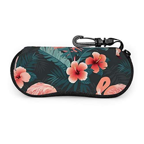 N/P Hermosa funda para gafas con diseño de pájaro flamenco y flores tropicales, estuche portátil para gafas con cerradura de llave