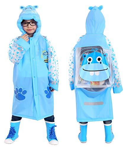 Aircee Kids Rain Coat for Kids Raincoat Girls Boys Reusable Rain Poncho Jacket Gear Schoolbag Position Packable Rainwear