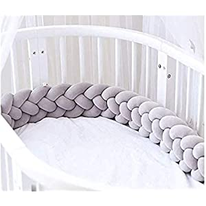 ZeroBaby Bedside Protector 2021 Upgrade 4 Strands Infant Thicker Soft Pad Braided Crib Protectoion Newborn Gift Pillow Cushion Nursery Cradle Decor for Kids,86in/220cm
