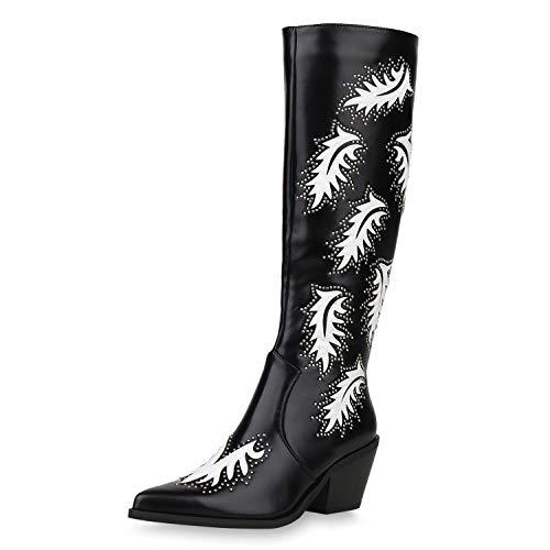 SCARPE VITA Damen Cowboystiefel Leicht Gefütterte Stiefel Nieten Stickereien Western Schuhe Spitze Cowboy Boots Westernstiefel 187305 Schwarz Weiss 37