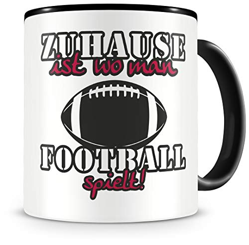 Samunshi® Football Tasse mit Spruch Zuhause ist Football Geschenk für Football Fans Kaffeetasse groß Lustige Tassen zum Geburtstag schwarz 300ml