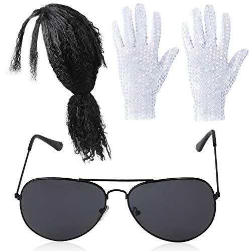 Beelittle 80s Pop Rockstar Accesorios para Disfraces de Baile Set Balck Curly Peluca Lentejuelas Guantes Gafas de Sol de Aviador de Moda MJ Performance Kit - 3 Piezas (Peluca Larga)