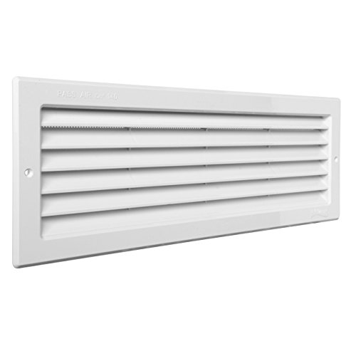 La Ventilazione PR3713B PR3713B-Y Griglia Plastica Rettangolare da Incasso, Bianco, 370x130 mm, Passaggio aria 85 cm²